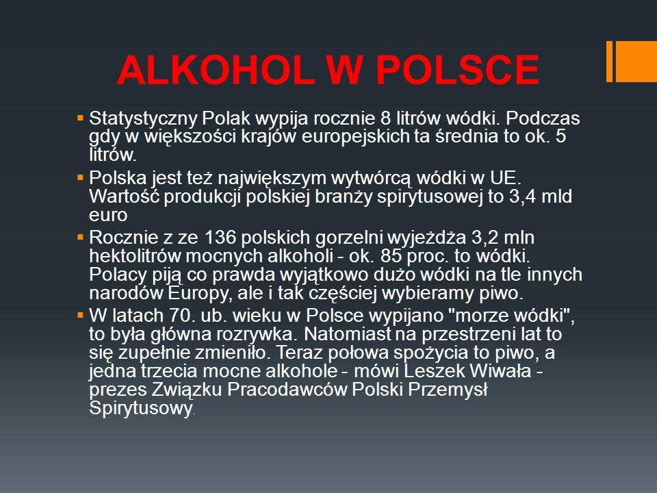 ALKOHOL W POLSCE Statystyczny Polak wypija rocznie 8 litrów wódki. Podczas gdy w większości krajów europejskich ta średnia to ok. 5 litrów. Polska jes