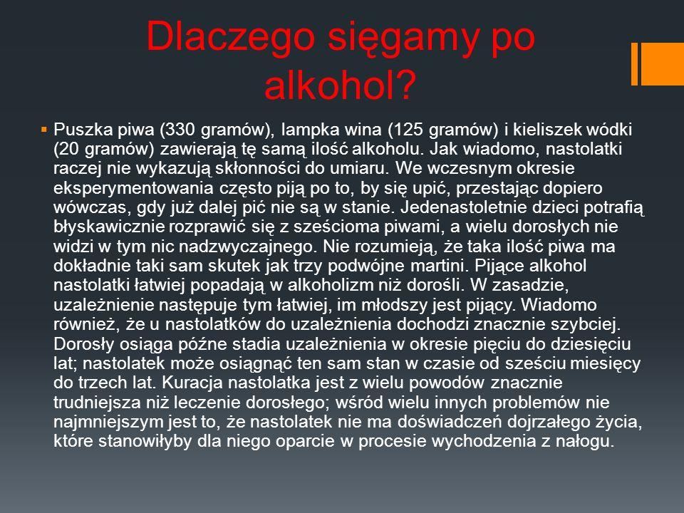 Dlaczego sięgamy po alkohol? Puszka piwa (330 gramów), lampka wina (125 gramów) i kieliszek wódki (20 gramów) zawierają tę samą ilość alkoholu. Jak wi
