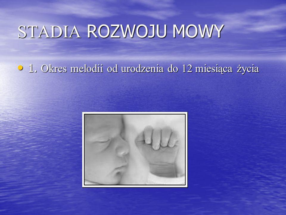 STADIA ROZWOJU MOWY 1. Okres melodii od urodzenia do 12 miesiąca życia 1. Okres melodii od urodzenia do 12 miesiąca życia