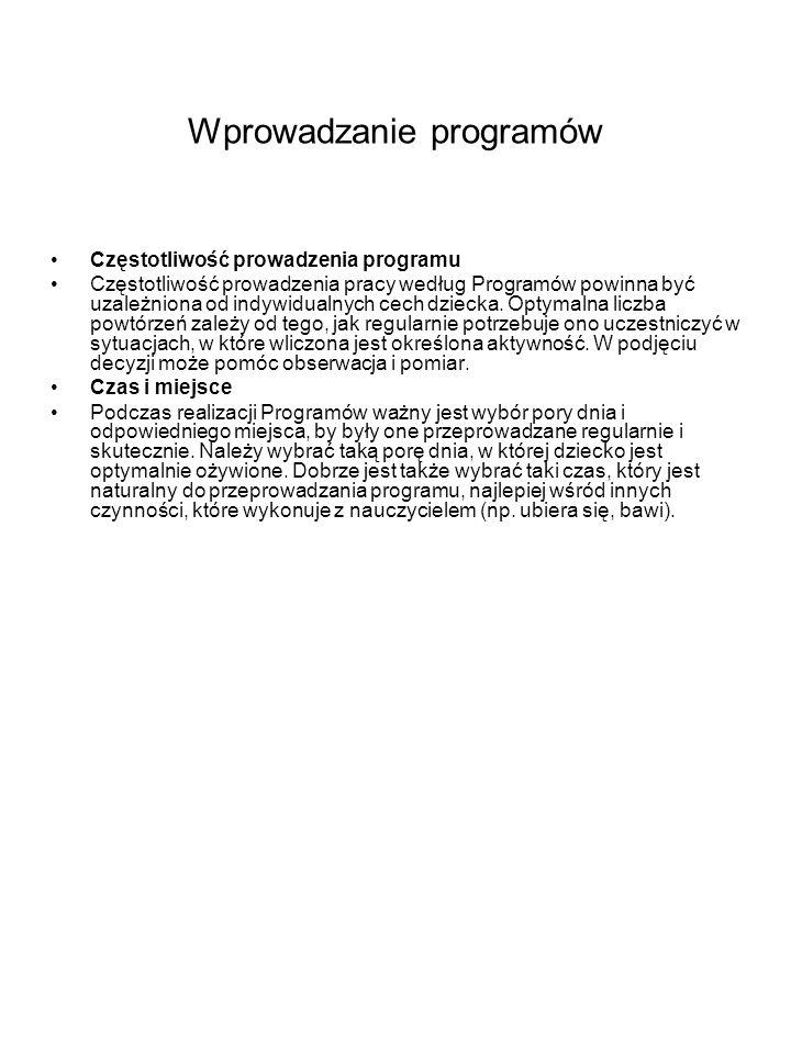 Wprowadzanie programów Częstotliwość prowadzenia programu Częstotliwość prowadzenia pracy według Programów powinna być uzależniona od indywidualnych c
