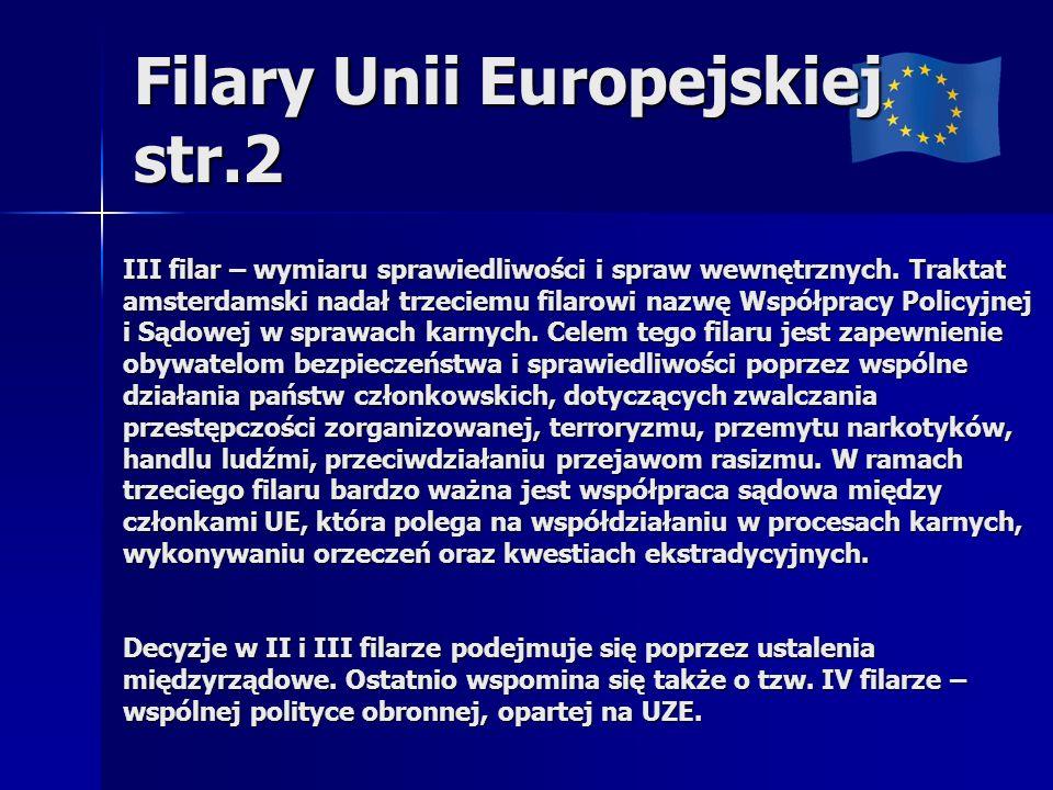 Filary Unii Europejskiej str.2 III filar – wymiaru sprawiedliwości i spraw wewnętrznych. Traktat amsterdamski nadał trzeciemu filarowi nazwę Współprac