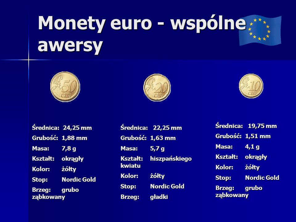 Monety euro - wspólne awersy Średnica: 24,25 mm Grubość: 1,88 mm Masa: 7,8 g Kształt: okrągły Kolor: żółty Stop: Nordic Gold Brzeg: grubo ząbkowany Średnica: 22,25 mm Grubość: 1,63 mm Masa: 5,7 g Kształt: hiszpańskiego kwiatu Kolor: żółty Stop: Nordic Gold Brzeg: gładki Średnica: 19,75 mm Grubość: 1,51 mm Masa: 4,1 g Kształt: okrągły Kolor: żółty Stop: Nordic Gold Brzeg: grubo ząbkowany