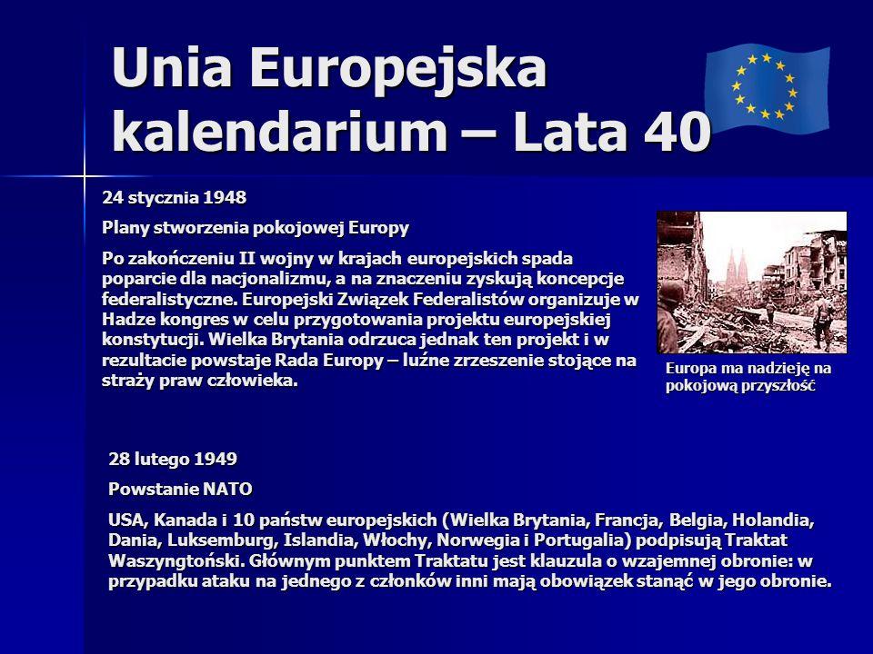 Unia Europejska kalendarium – Lata 40 24 stycznia 1948 Plany stworzenia pokojowej Europy Po zakończeniu II wojny w krajach europejskich spada poparcie