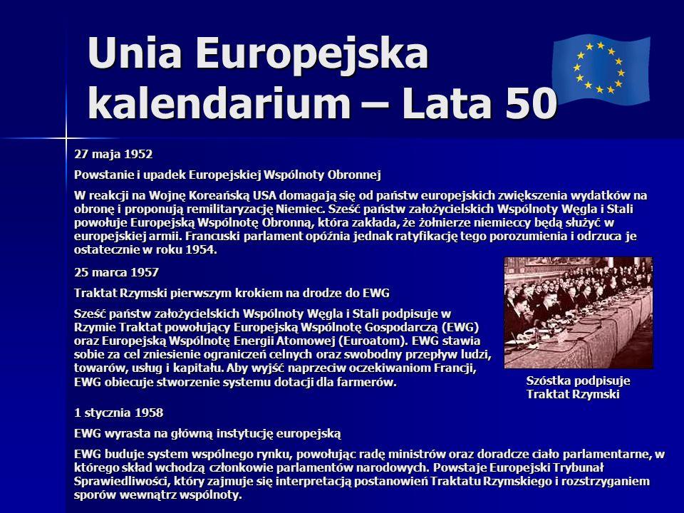 Unia Europejska kalendarium – Lata 50 27 maja 1952 Powstanie i upadek Europejskiej Wspólnoty Obronnej W reakcji na Wojnę Koreańską USA domagają się od państw europejskich zwiększenia wydatków na obronę i proponują remilitaryzację Niemiec.