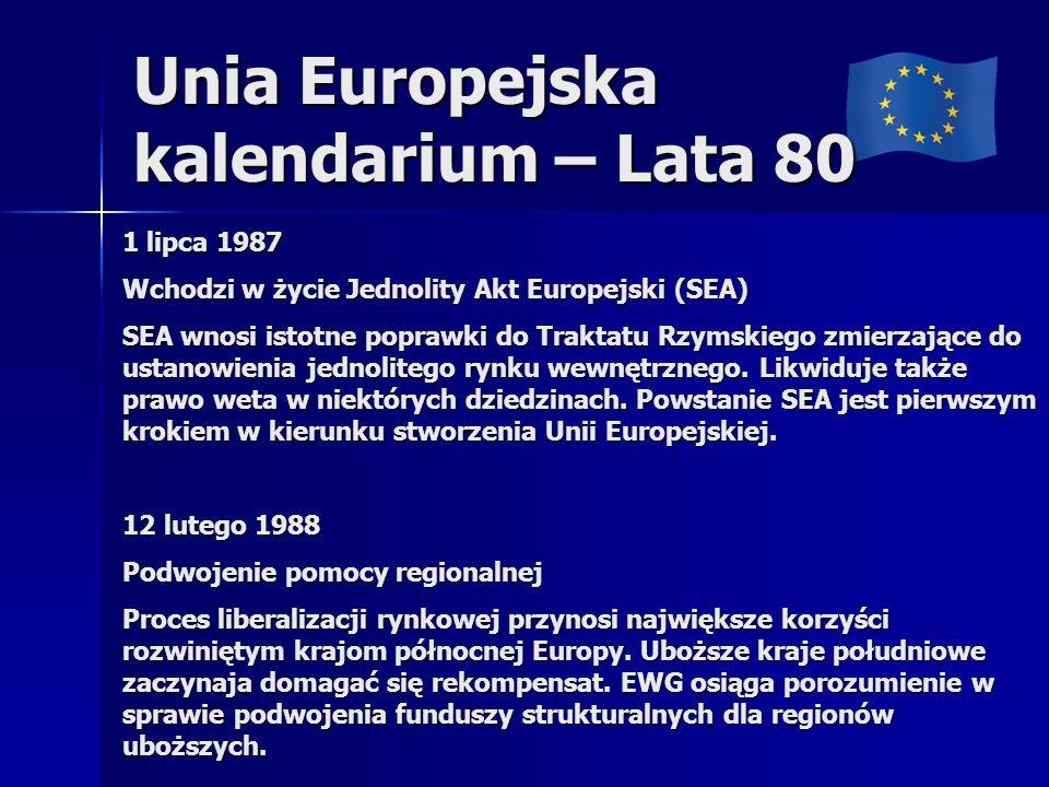 Unia Europejska kalendarium – Lata 80 1 lipca 1987 Wchodzi w życie Jednolity Akt Europejski (SEA) SEA wnosi istotne poprawki do Traktatu Rzymskiego zmierzające do ustanowienia jednolitego rynku wewnętrznego.