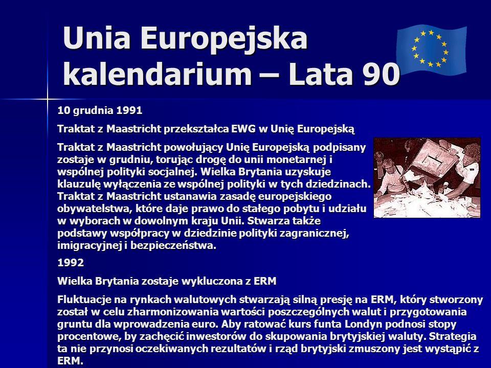 Unia Europejska kalendarium – Lata 90 10 grudnia 1991 Traktat z Maastricht przekształca EWG w Unię Europejską Traktat z Maastricht powołujący Unię Europejską podpisany zostaje w grudniu, torując drogę do unii monetarnej i wspólnej polityki socjalnej.