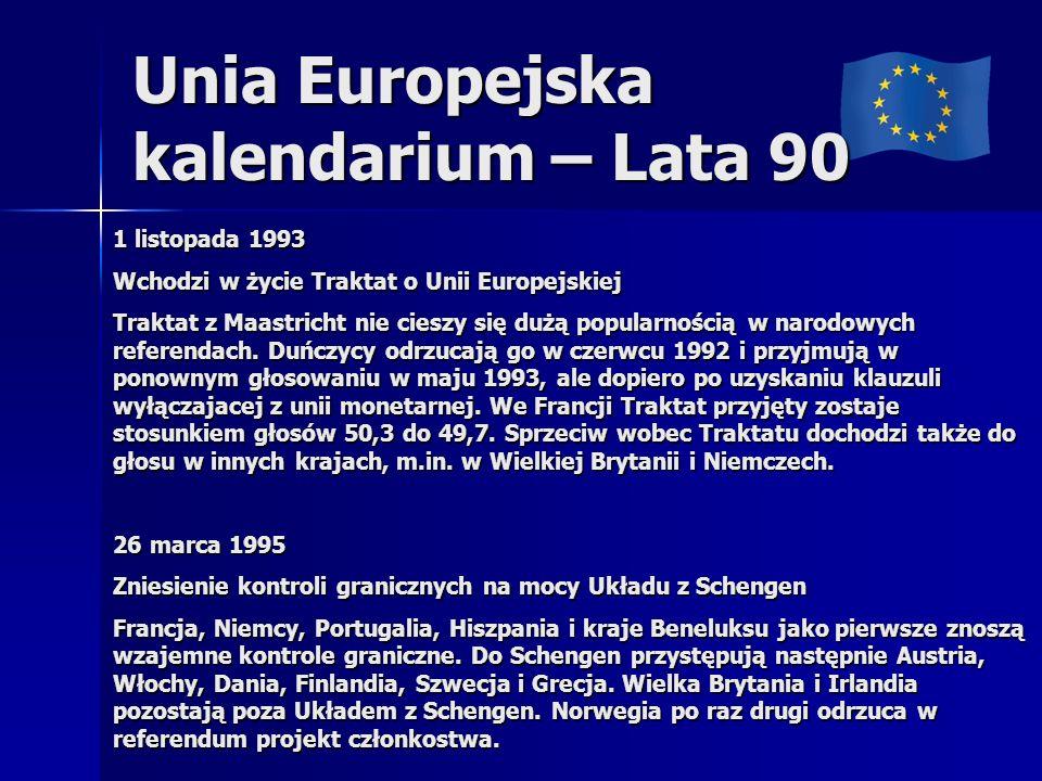 Unia Europejska kalendarium – Lata 90 1 listopada 1993 Wchodzi w życie Traktat o Unii Europejskiej Traktat z Maastricht nie cieszy się dużą popularnoś