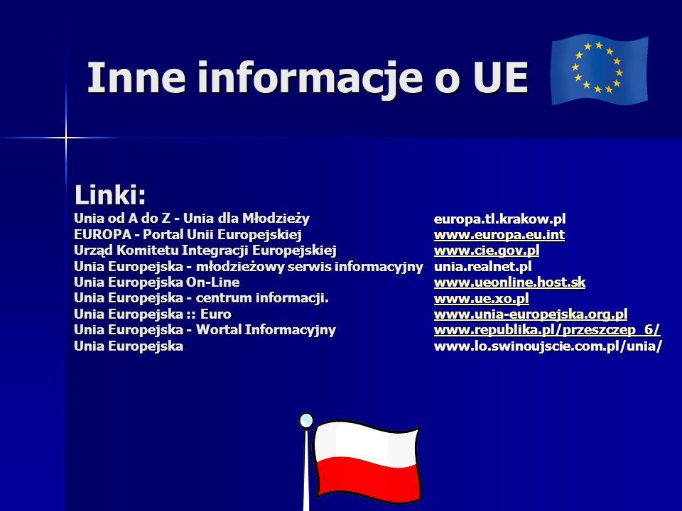 Inne informacje o UE Linki: Unia od A do Z - Unia dla Młodzieży EUROPA - Portal Unii Europejskiej Urząd Komitetu Integracji Europejskiej Unia Europejska - młodzieżowy serwis informacyjny Unia Europejska On-Line Unia Europejska - centrum informacji.