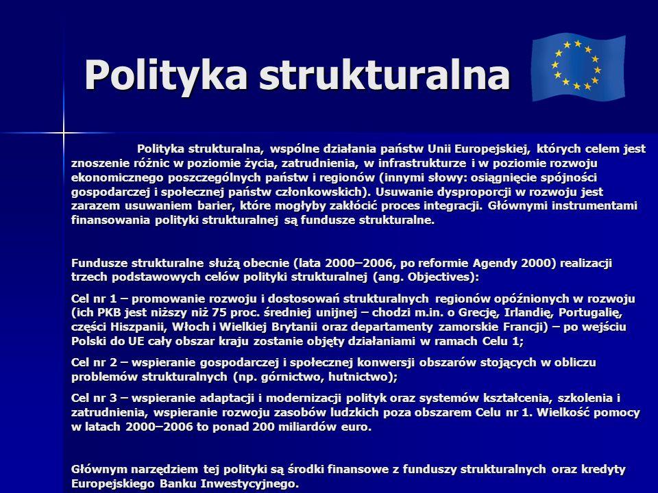 Polityka strukturalna Polityka strukturalna, wspólne działania państw Unii Europejskiej, których celem jest znoszenie różnic w poziomie życia, zatrudnienia, w infrastrukturze i w poziomie rozwoju ekonomicznego poszczególnych państw i regionów (innymi słowy: osiągnięcie spójności gospodarczej i społecznej państw członkowskich).