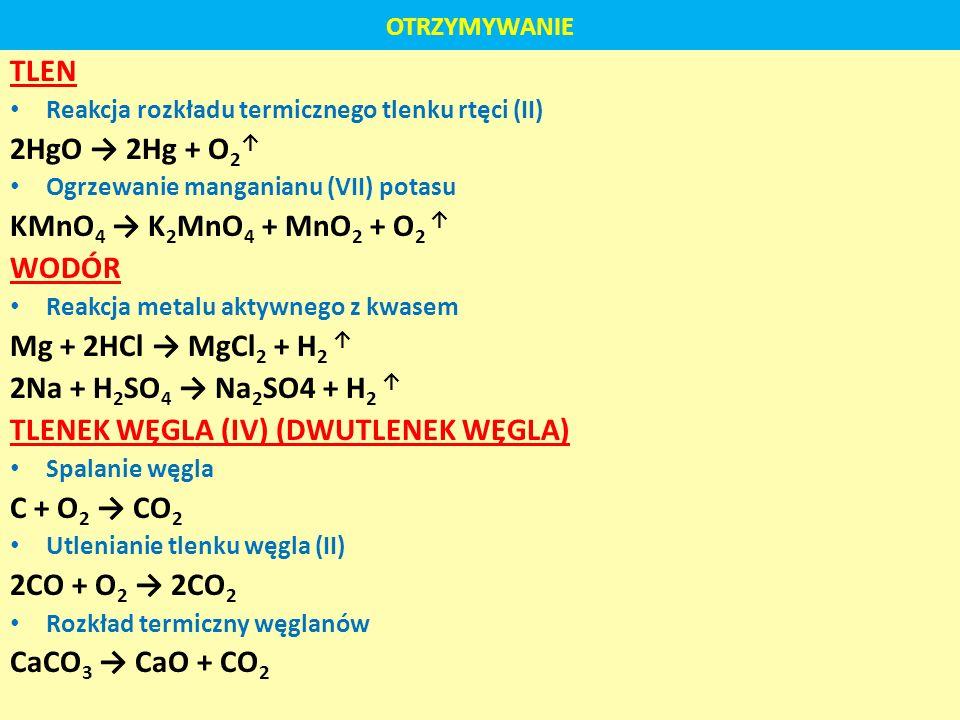OTRZYMYWANIE TLEN Reakcja rozkładu termicznego tlenku rtęci (II) 2HgO 2Hg + O 2 Ogrzewanie manganianu (VII) potasu KMnO 4 K 2 MnO 4 + MnO 2 + O 2 WODÓ