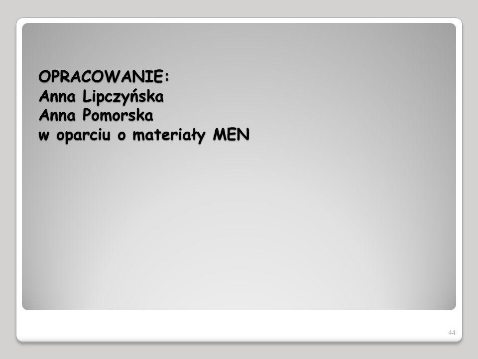 OPRACOWANIE: Anna Lipczyńska Anna Pomorska w oparciu o materiały MEN 44