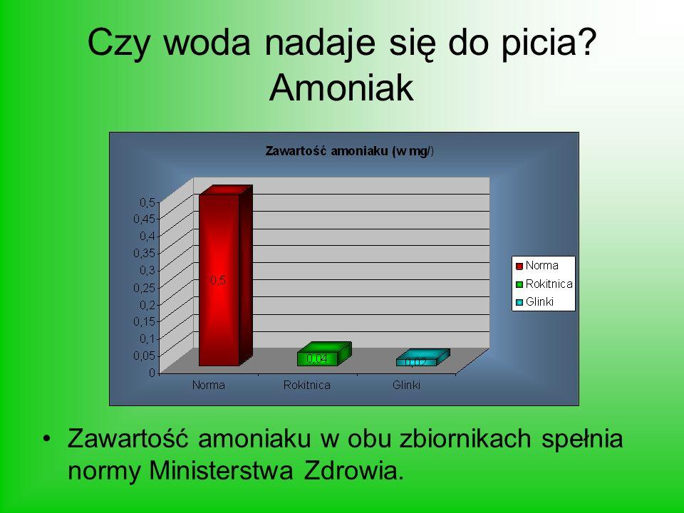 Czy woda nadaje się do picia? Amoniak Zawartość amoniaku w obu zbiornikach spełnia normy Ministerstwa Zdrowia.
