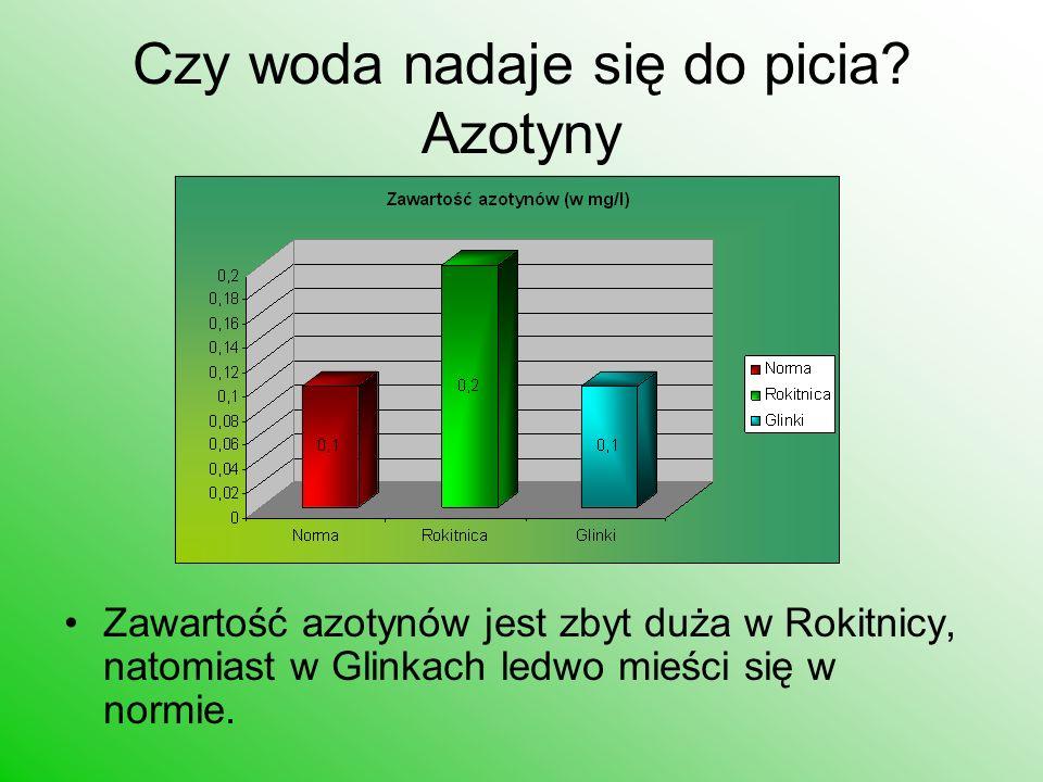 Czy woda nadaje się do picia? Azotyny Zawartość azotynów jest zbyt duża w Rokitnicy, natomiast w Glinkach ledwo mieści się w normie.
