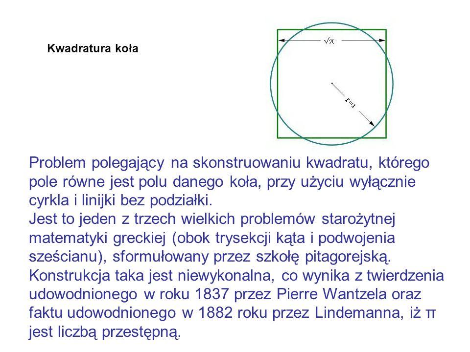 Kwadratura koła Kwadratura koła jest bezpośrednio związana z rektyfikacją okręgu; gdyby jedna z tych konstrukcji była wykonalna, wykonalna byłaby i druga.