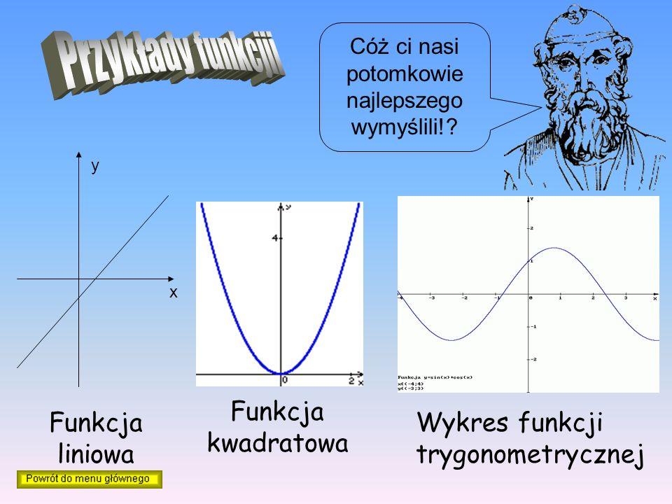 x y Funkcja liniowa Funkcja kwadratowa Wykres funkcji trygonometrycznej Cóż ci nasi potomkowie najlepszego wymyślili!?