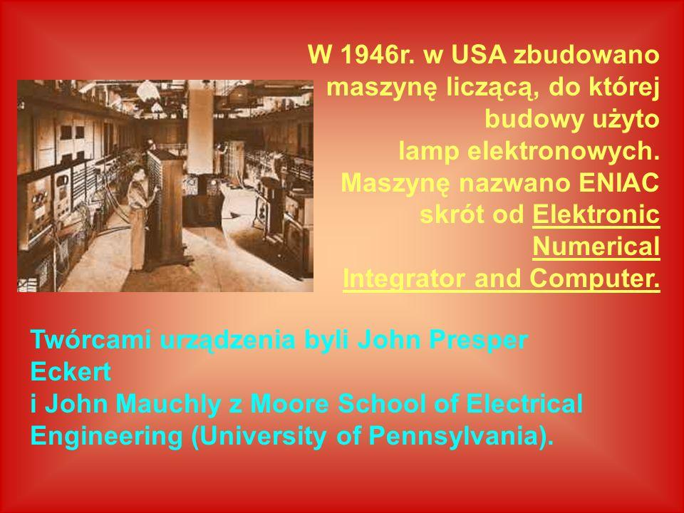 W 1946r. w USA zbudowano maszynę liczącą, do której budowy użyto lamp elektronowych. Maszynę nazwano ENIAC skrót od Elektronic Numerical Integrator an