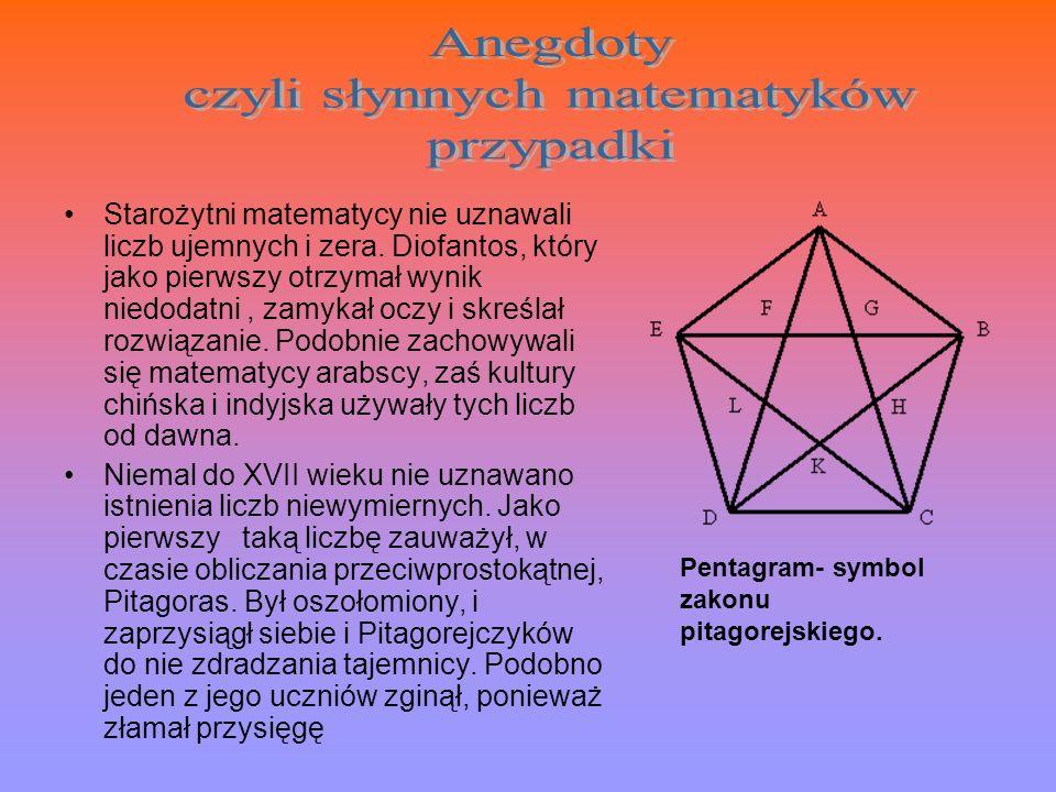 Starożytni matematycy nie uznawali liczb ujemnych i zera. Diofantos, który jako pierwszy otrzymał wynik niedodatni, zamykał oczy i skreślał rozwiązani
