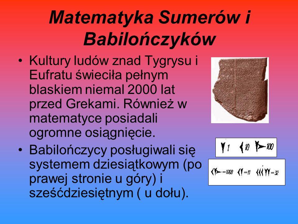 Matematyka Sumerów i Babilończyków Kultury ludów znad Tygrysu i Eufratu świeciła pełnym blaskiem niemal 2000 lat przed Grekami. Również w matematyce p