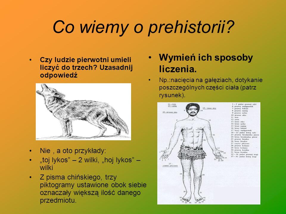 Co wiemy o prehistorii? Czy ludzie pierwotni umieli liczyć do trzech? Uzasadnij odpowiedź Nie, a oto przykłady: toj lykos – 2 wilki, hoj lykos – wilki