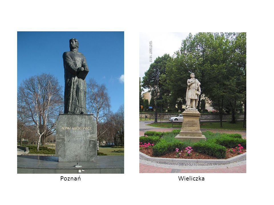 Pomniki Adama Mickiewicza KrakówWarszawa