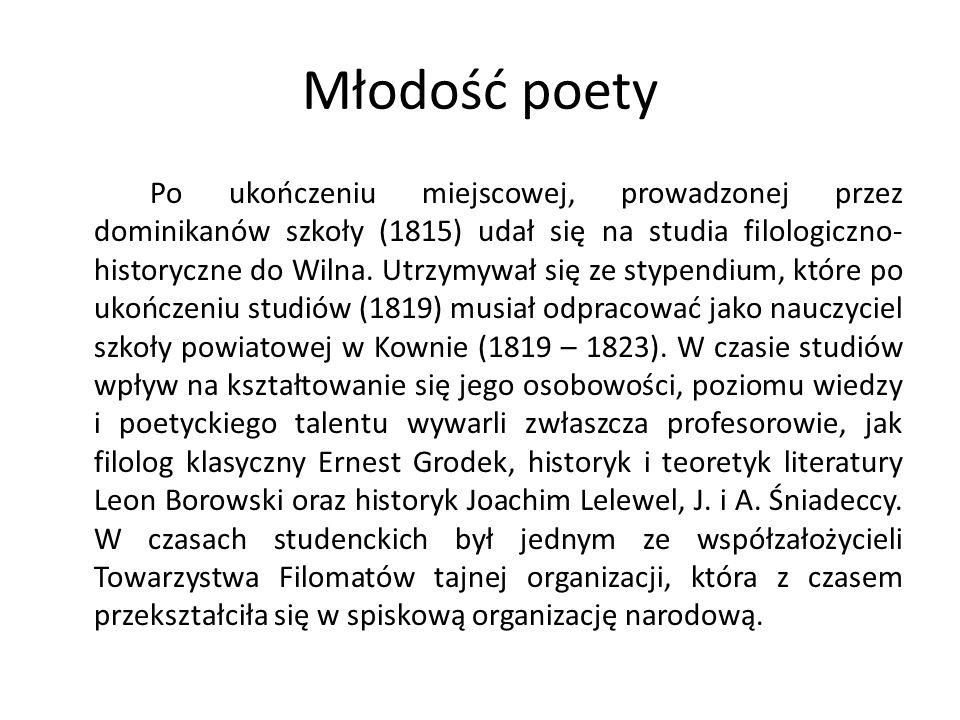 Młodość poety Po ukończeniu miejscowej, prowadzonej przez dominikanów szkoły (1815) udał się na studia filologiczno- historyczne do Wilna.