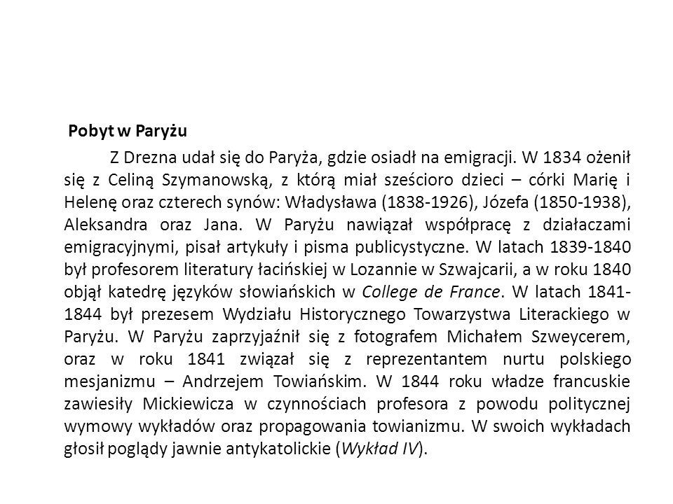 Więzienie, zesłanie i emigracja W Kownie mieszkał do roku 1823. Podczas pobytu w Kownie napisał rozprawę, za którą w roku 1822 otrzymał tytuł magistra