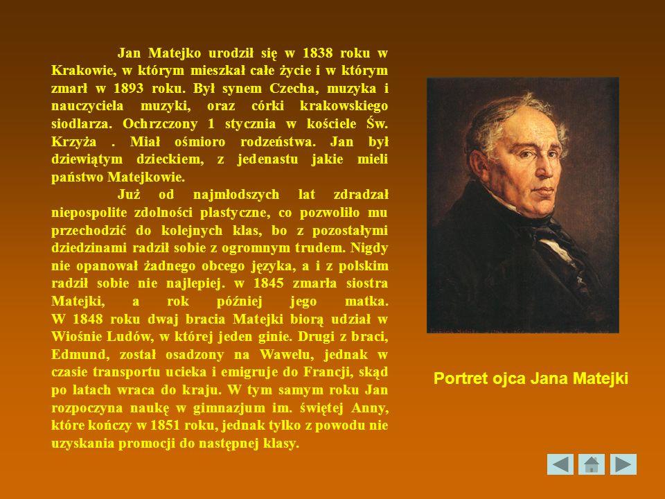 Jan Matejko urodził się w 1838 roku w Krakowie, w którym mieszkał całe życie i w którym zmarł w 1893 roku. Był synem Czecha, muzyka i nauczyciela muzy