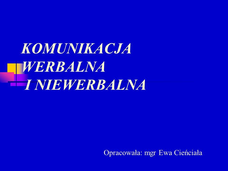 KOMUNIKACJA WERBALNA I NIEWERBALNA Opracowała: mgr Ewa Cieńciała