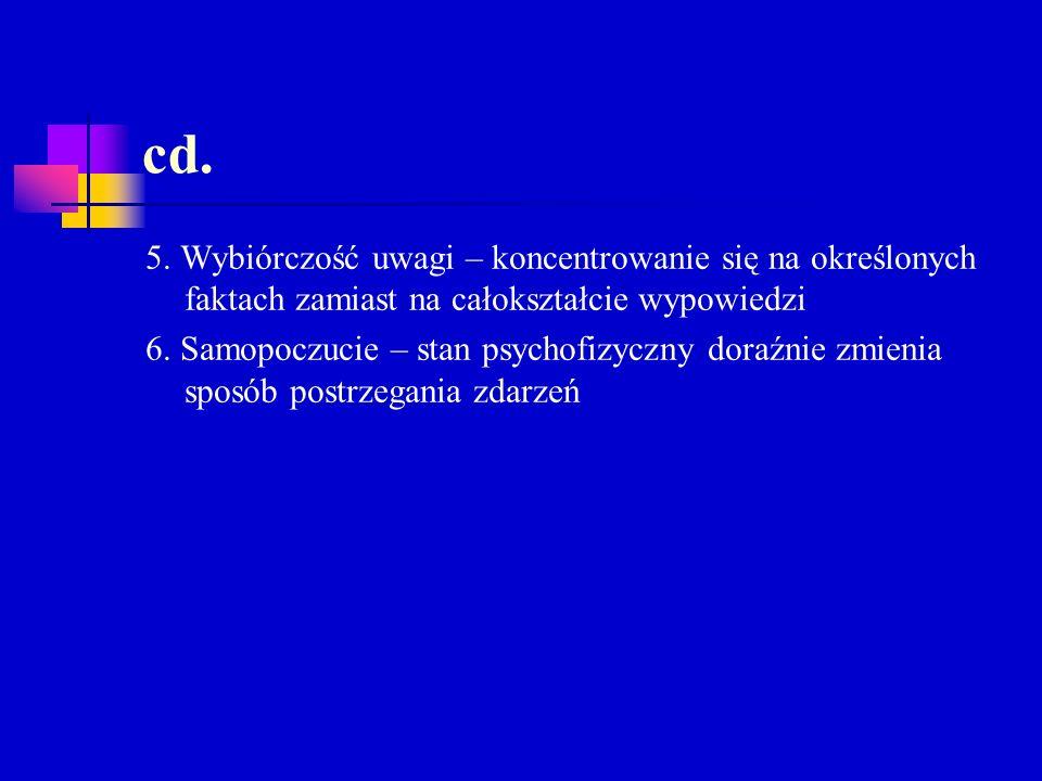 cd. 5. Wybiórczość uwagi – koncentrowanie się na określonych faktach zamiast na całokształcie wypowiedzi 6. Samopoczucie – stan psychofizyczny doraźni
