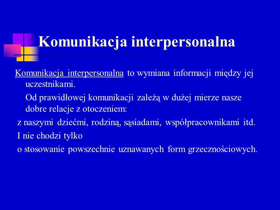 Komunikacja interpersonalna Komunikacja interpersonalna to wymiana informacji między jej uczestnikami. Od prawidłowej komunikacji zależą w dużej mierz