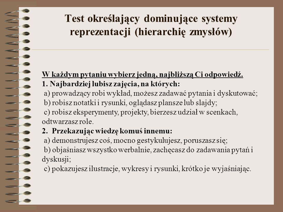Test określający dominujące systemy reprezentacji (hierarchię zmysłów) W każdym pytaniu wybierz jedną, najbliższą Ci odpowiedź. 1. Najbardziej lubisz