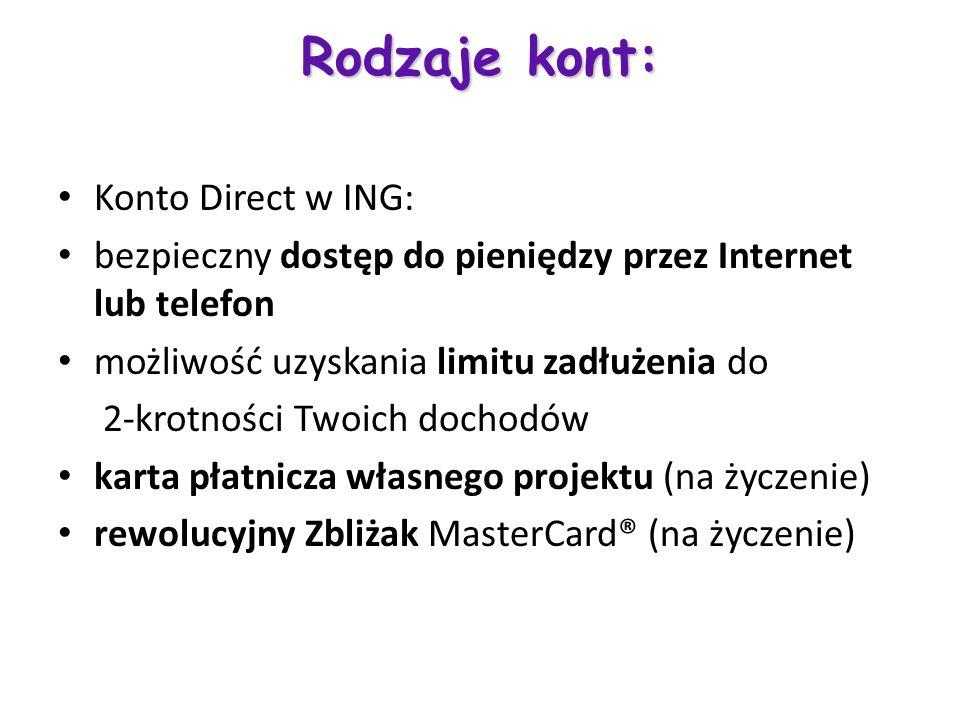 Rodzaje kont: Konto Direct w ING: bezpieczny dostęp do pieniędzy przez Internet lub telefon możliwość uzyskania limitu zadłużenia do 2-krotności Twoic