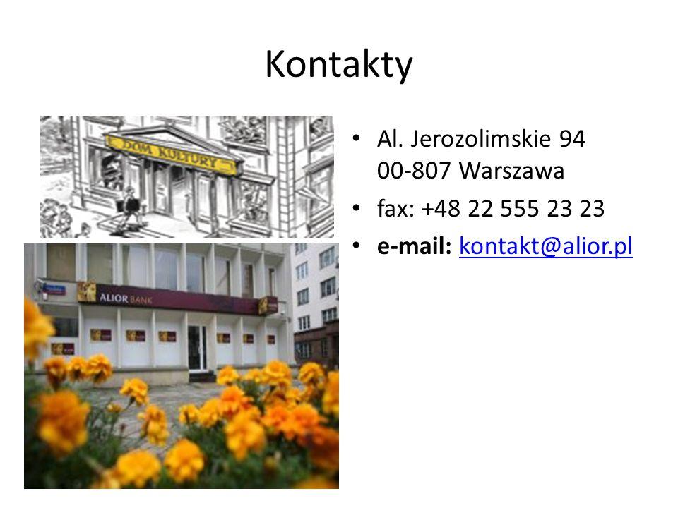 Kontakty Al. Jerozolimskie 94 00-807 Warszawa fax: +48 22 555 23 23 e-mail: kontakt@alior.plkontakt@alior.pl