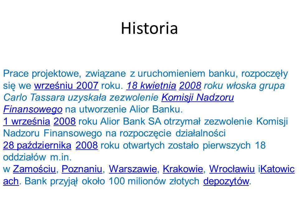 Historia Prace projektowe, związane z uruchomieniem banku, rozpoczęły się we wrześniu 2007 roku. 18 kwietnia 2008 roku włoska grupa Carlo Tassara uzys
