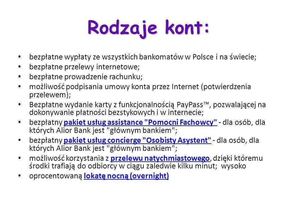 Rodzaje kont: bezpłatne wypłaty ze wszystkich bankomatów w Polsce i na świecie; bezpłatne przelewy internetowe; bezpłatne prowadzenie rachunku; możliw