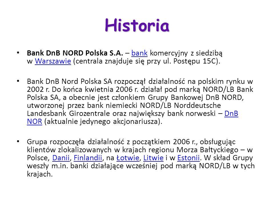 Historia Bank DnB NORD Polska S.A. – bank komercyjny z siedzibą w Warszawie (centrala znajduje się przy ul. Postępu 15C).bankWarszawie Bank DnB Nord P