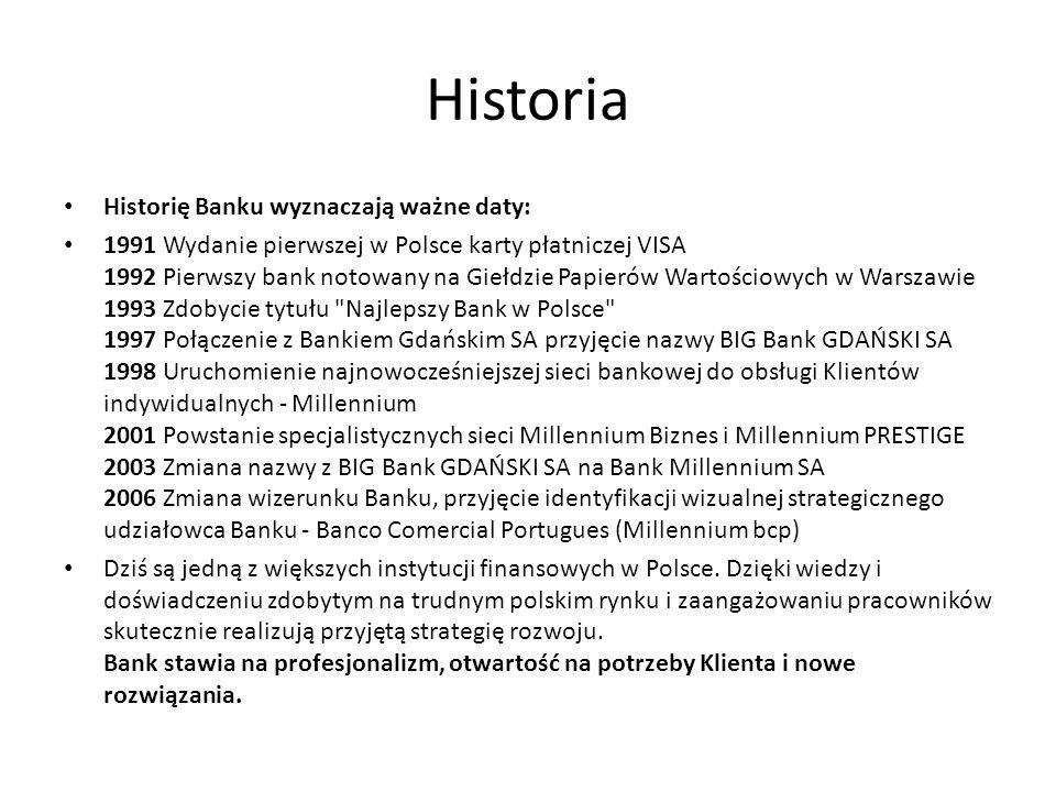 Historia Historię Banku wyznaczają ważne daty: 1991 Wydanie pierwszej w Polsce karty płatniczej VISA 1992 Pierwszy bank notowany na Giełdzie Papierów