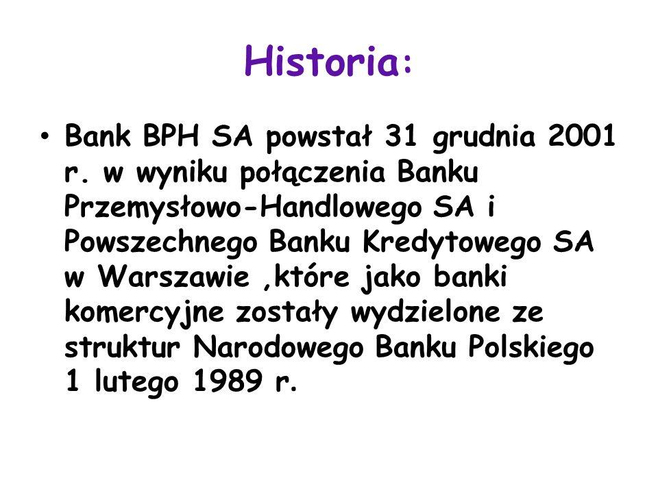 Historia : Bank BPH SA powstał 31 grudnia 2001 r. w wyniku połączenia Banku Przemysłowo-Handlowego SA i Powszechnego Banku Kredytowego SA w Warszawie,