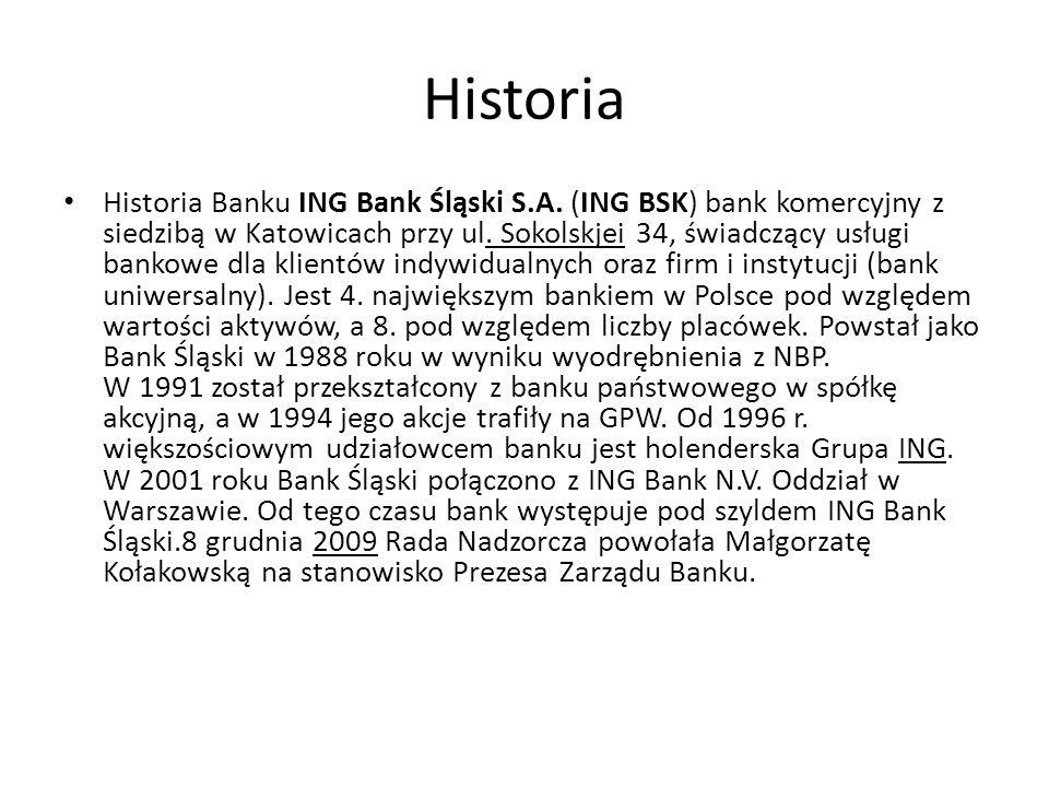Historia Historia Banku ING Bank Śląski S.A. (ING BSK) bank komercyjny z siedzibą w Katowicach przy ul. Sokolskjei 34, świadczący usługi bankowe dla k