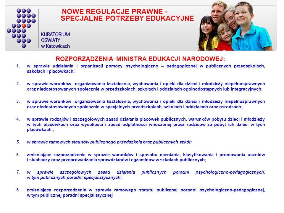 NOWE REGULACJE PRAWNE - SPECJALNE POTRZEBY EDUKACYJNE ROZPORZĄDZENIA MINISTRA EDUKACJI NARODOWEJ: 1.w sprawie udzielania i organizacji pomocy psychologiczno – pedagogicznej w publicznych przedszkolach, szkołach i placówkach; 2.w sprawie warunków organizowania kształcenia, wychowania i opieki dla dzieci i młodzieży niepełnosprawnych oraz niedostosowanych społecznie w przedszkolach, szkołach i oddziałach ogólnodostępnych lub integracyjnych; 3.w sprawie warunków organizowania kształcenia, wychowania i opieki dla dzieci i młodzieży niepełnosprawnych oraz niedostosowanych społecznie w specjalnych przedszkolach, szkołach i oddziałach oraz ośrodkach; 4.w sprawie rodzajów i szczegółowych zasad działania placówek publicznych, warunków pobytu dzieci i młodzieży w tych placówkach oraz wysokości i zasad odpłatności wnoszonej przez rodziców za pobyt ich dzieci w tych placówkach ; 5.w sprawie ramowych statutów publicznego przedszkola oraz publicznych szkół; 6.zmieniające rozporządzenie w sprawie warunków i sposobu oceniania, klasyfikowania i promowania uczniów i słuchaczy oraz przeprowadzania sprawdzianów i egzaminów w szkołach publicznych; 7.w sprawie szczegółowych zasad działania publicznych poradni psychologiczno-pedagogicznych, w tym publicznych poradni specjalistycznych; 8.zmieniające rozporządzenie w sprawie ramowego statutu publicznej poradni psychologiczno-pedagogicznej, w tym publicznej poradni specjalistycznej