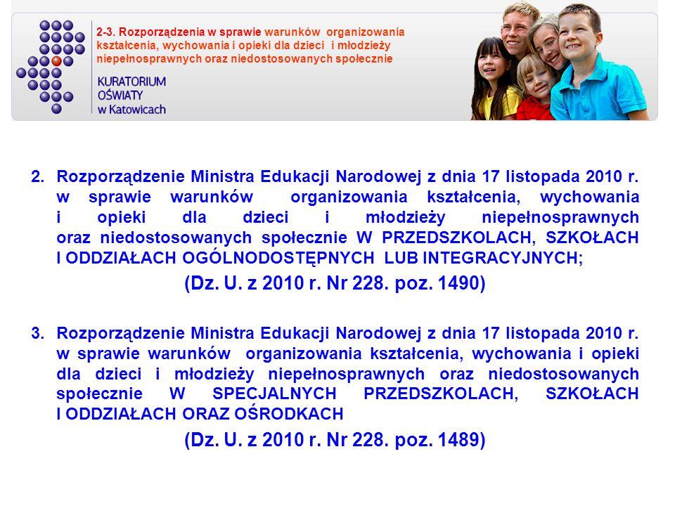 2-3. Rozporządzenia w sprawie warunków organizowania kształcenia, wychowania i opieki dla dzieci i młodzieży niepełnosprawnych oraz niedostosowanych s