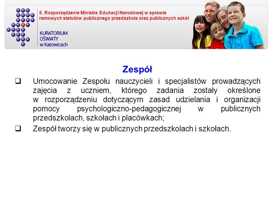 5. Rozporządzenie Ministra Edukacji Narodowej w sprawie ramowych statutów publicznego przedszkola oraz publicznych szkół Zespół Umocowanie Zespołu nau