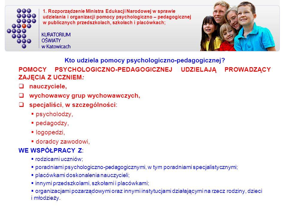 1. Rozporządzenie Ministra Edukacji Narodowej w sprawie udzielania i organizacji pomocy psychologiczno – pedagogicznej w publicznych przedszkolach, sz