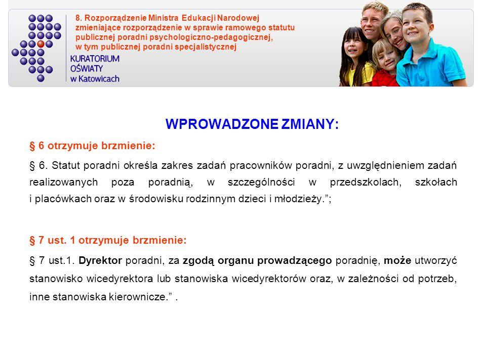8. Rozporządzenie Ministra Edukacji Narodowej zmieniające rozporządzenie w sprawie ramowego statutu publicznej poradni psychologiczno-pedagogicznej, w