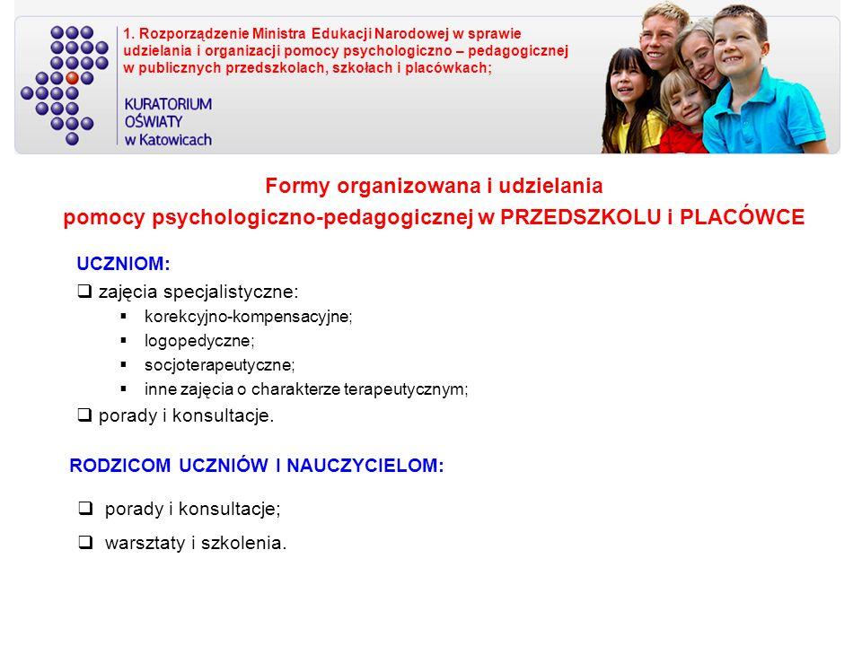 RODZICOM UCZNIÓW I NAUCZYCIELOM: UCZNIOM: zajęcia specjalistyczne: korekcyjno-kompensacyjne; logopedyczne; socjoterapeutyczne; inne zajęcia o charakterze terapeutycznym; porady i konsultacje.