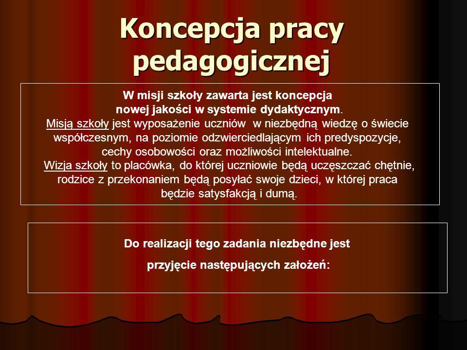 Koncepcja pracy pedagogicznej W misji szkoły zawarta jest koncepcja nowej jakości w systemie dydaktycznym. Misją szkoły jest wyposażenie uczniów w nie