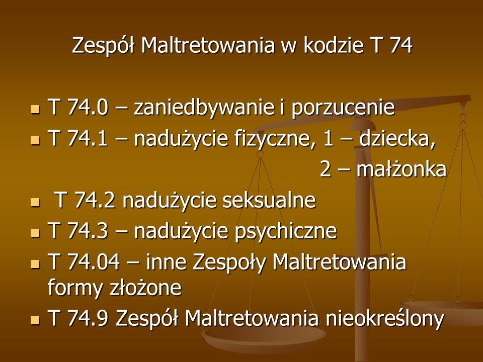 Zespół Maltretowania w kodzie T 74 T 74.0 – zaniedbywanie i porzucenie T 74.0 – zaniedbywanie i porzucenie T 74.1 – nadużycie fizyczne, 1 – dziecka, T
