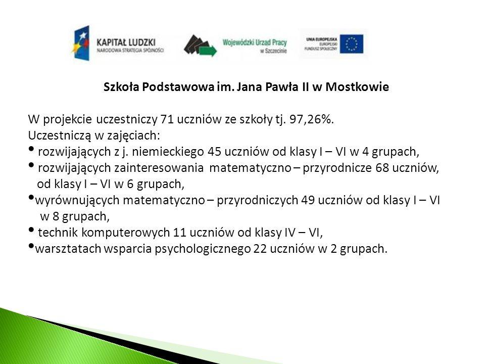 Szkoła Podstawowa im. Jana Pawła II w Mostkowie W projekcie uczestniczy 71 uczniów ze szkoły tj.