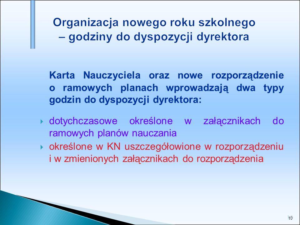 10 Organizacja nowego roku szkolnego – godziny do dyspozycji dyrektora Karta Nauczyciela oraz nowe rozporządzenie o ramowych planach wprowadzają dwa t