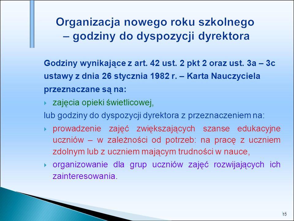 15 Organizacja nowego roku szkolnego – godziny do dyspozycji dyrektora Godziny wynikające z art. 42 ust. 2 pkt 2 oraz ust. 3a – 3c ustawy z dnia 26 st